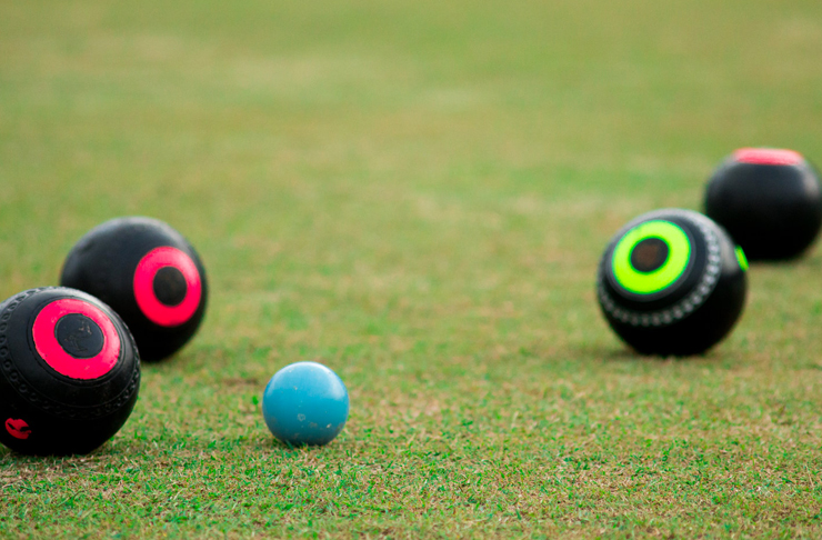 lawn bowls on green grass