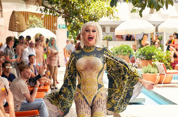 drag queen in the middle of the ivy pool club