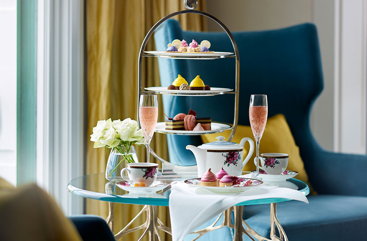 high tea set up at the langham