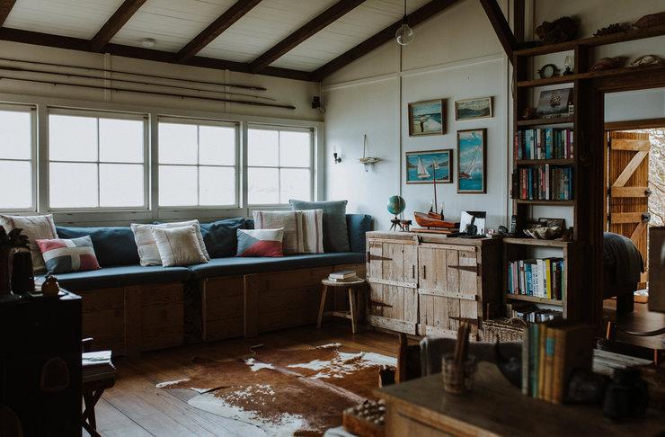 old reading room inside little black beach shack