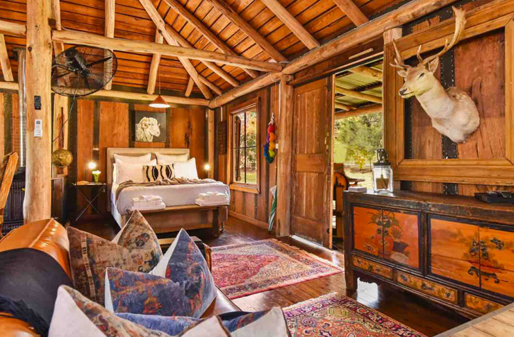 rustic interior of bush cabin