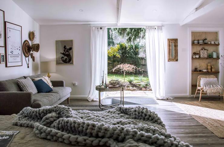 open plan living room overlooking garden