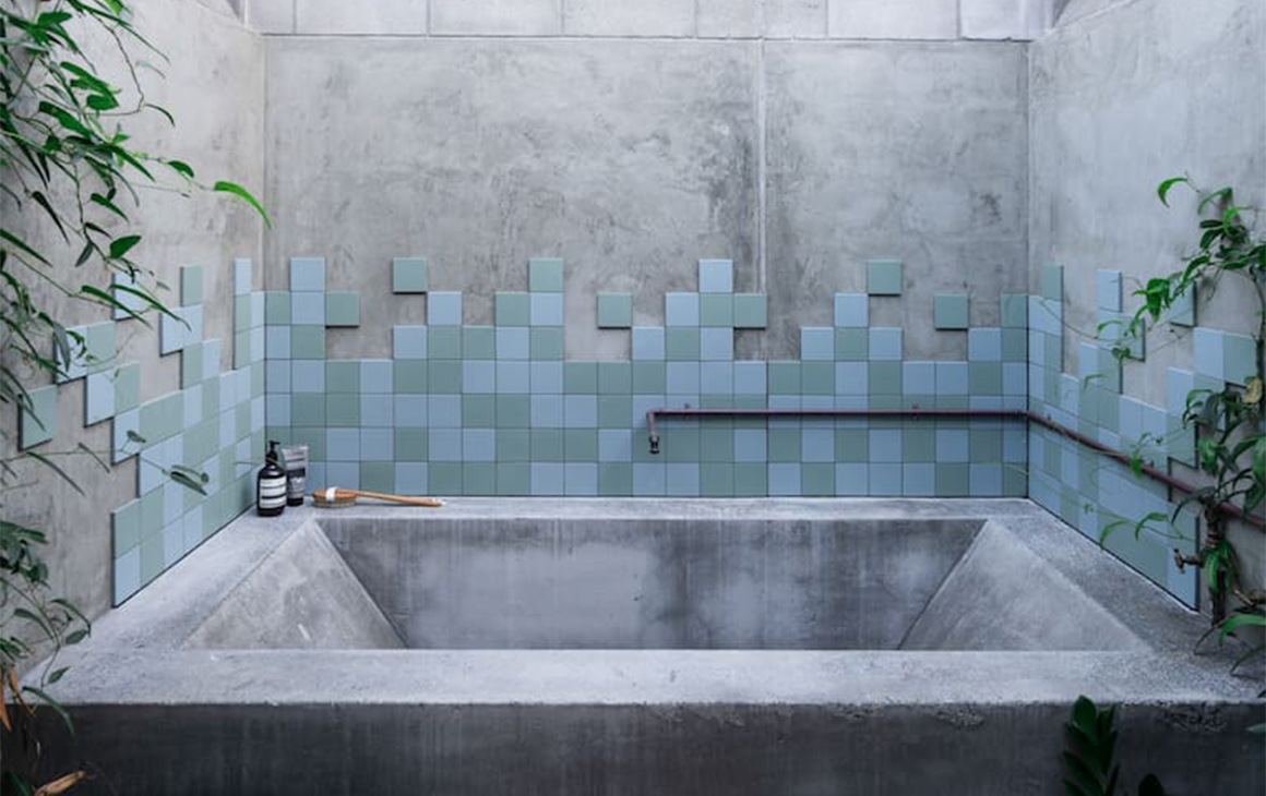cement style outdoor bath