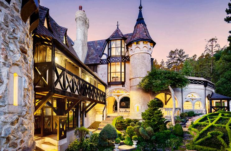 english style castle at twilight