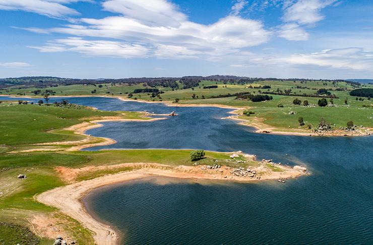 aerial view of lake oberon