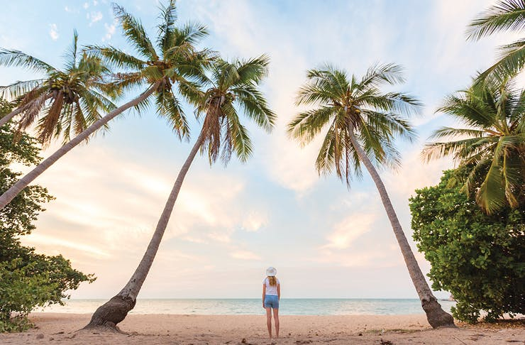 a woman walks on the beach, surrounded by towering palm trees