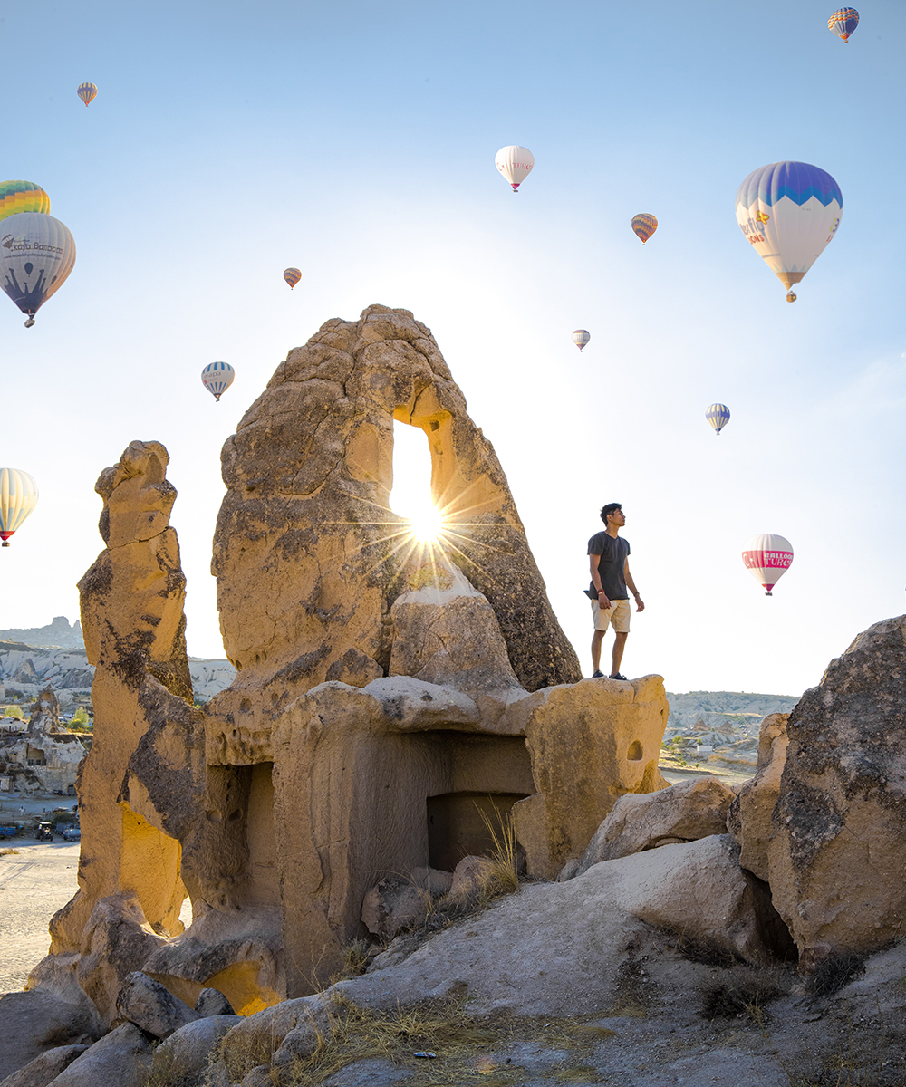 Hot Air Balloons float over Cappadocia, Turkey