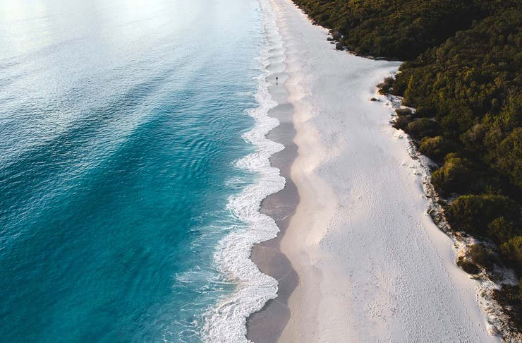 the stunning white sand beach of jervis bay