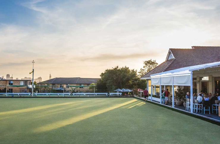bowls club on sunny afternoon