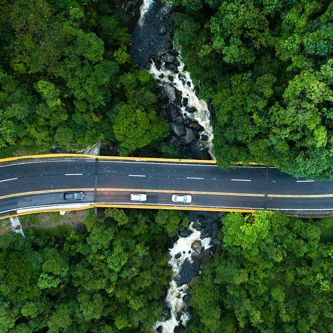 aerial view of scenic drive across waterfall war drive nsw