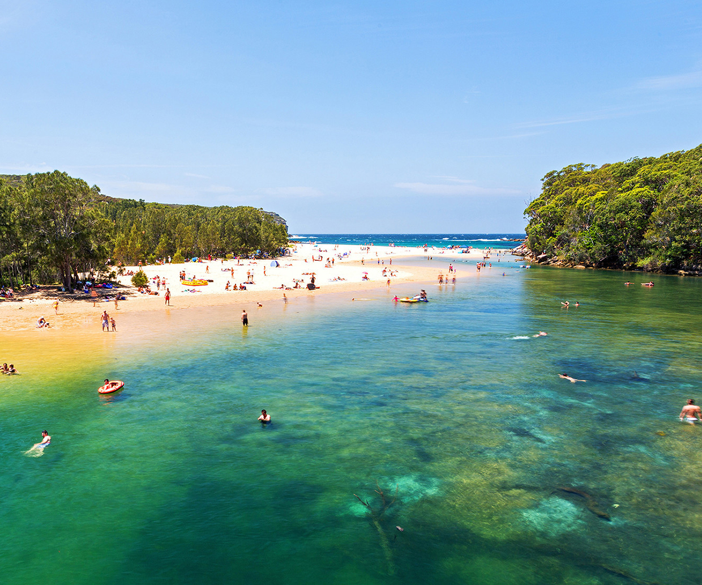 busy coastal beach