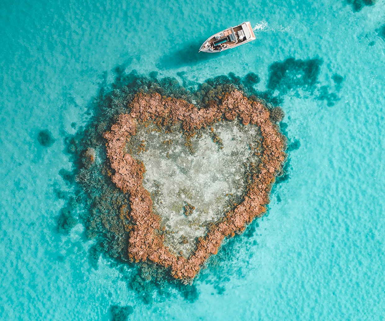 aerial view of famous heart shaped island in australia