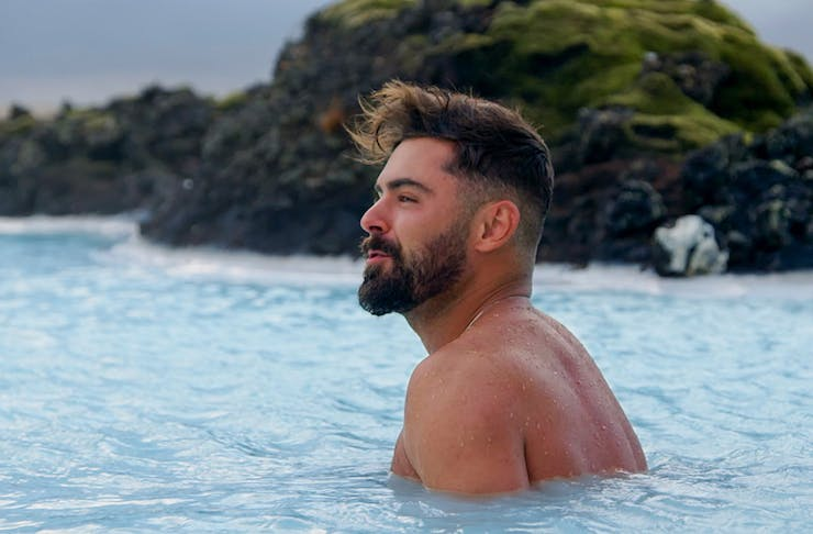 Zac Efron is swims in Iceland's blue lagoon.